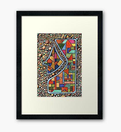 195 - PEBBLES DESIGN - DAVE EDWARDS - COLOURED PENCIL - 2007 Framed Print