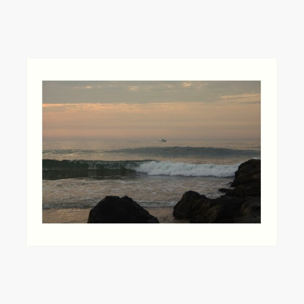 Surf and Rocks in Ocean Grove Dawn Art Print