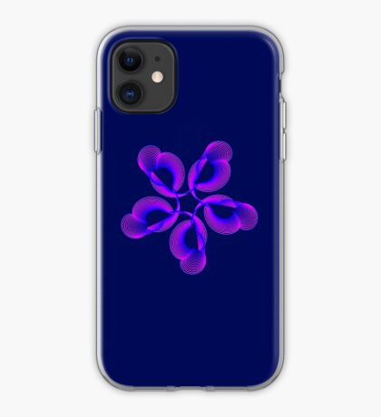 Spiral Pink Blue Abstract Flowers iPhone Case