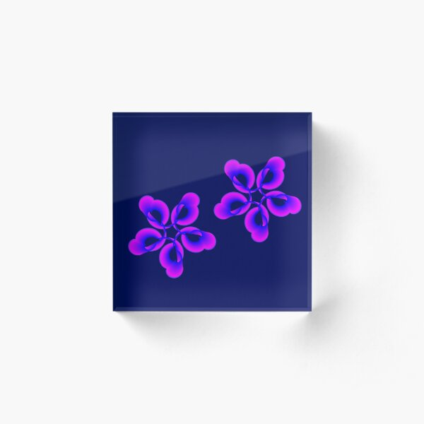 Spiral Pink Blue Abstract Flowers Acrylic Block