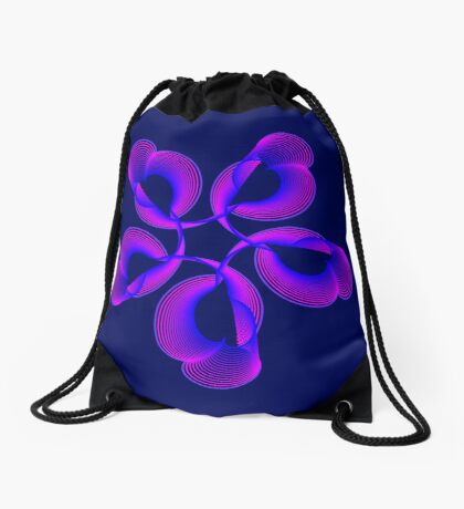 Spiral Pink Blue Abstract Flowers Drawstring Bag