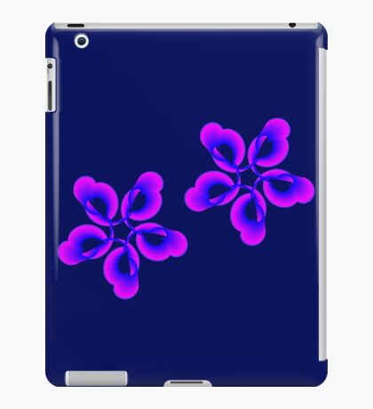 Spiral Pink Blue Abstract Flowers iPad Case/Skin