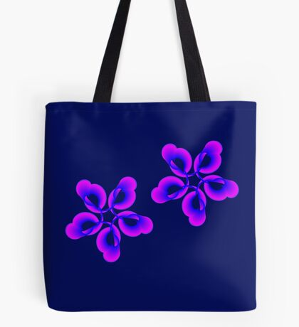 Spiral Pink Blue Abstract Flowers Tote Bag
