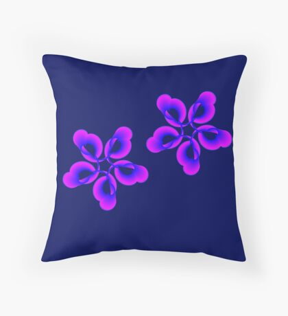 Spiral Pink Blue Abstract Flowers Throw Pillow
