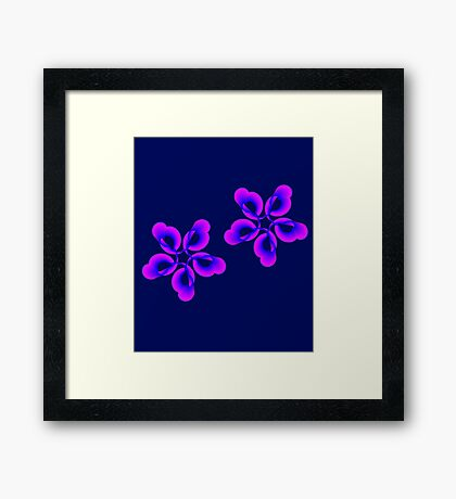 Spiral Pink Blue Abstract Flowers Framed Print