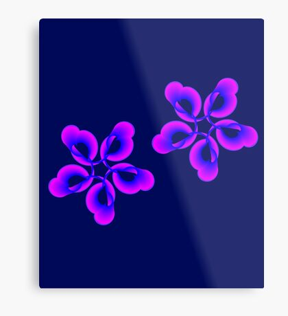 Spiral Pink Blue Abstract Flowers Metal Print