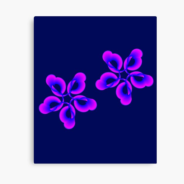 Spiral Pink Blue Abstract Flowers Canvas Print