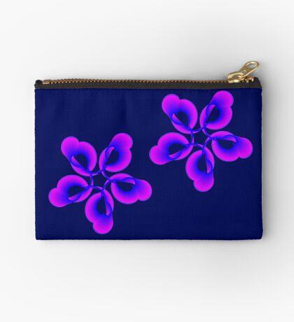 Spiral Pink Blue Abstract Flowers Zipper Pouch
