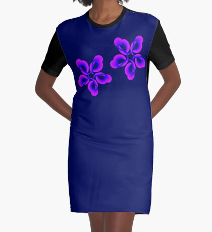 Spiral Pink Blue Abstract Flowers Graphic T-Shirt Dress