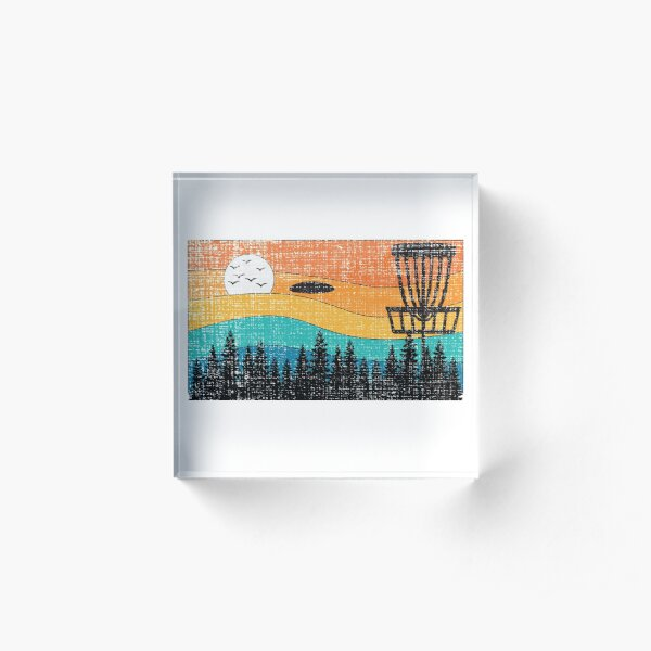 Vintage Retro Frisbee Disc Golf Frolf Stupid Tree Forest Acrylic Block