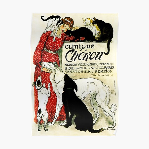 CLINIQUE CHERON Animal Clinic by Theophile Steinlen c1905 Vintage Advertising Art Poster