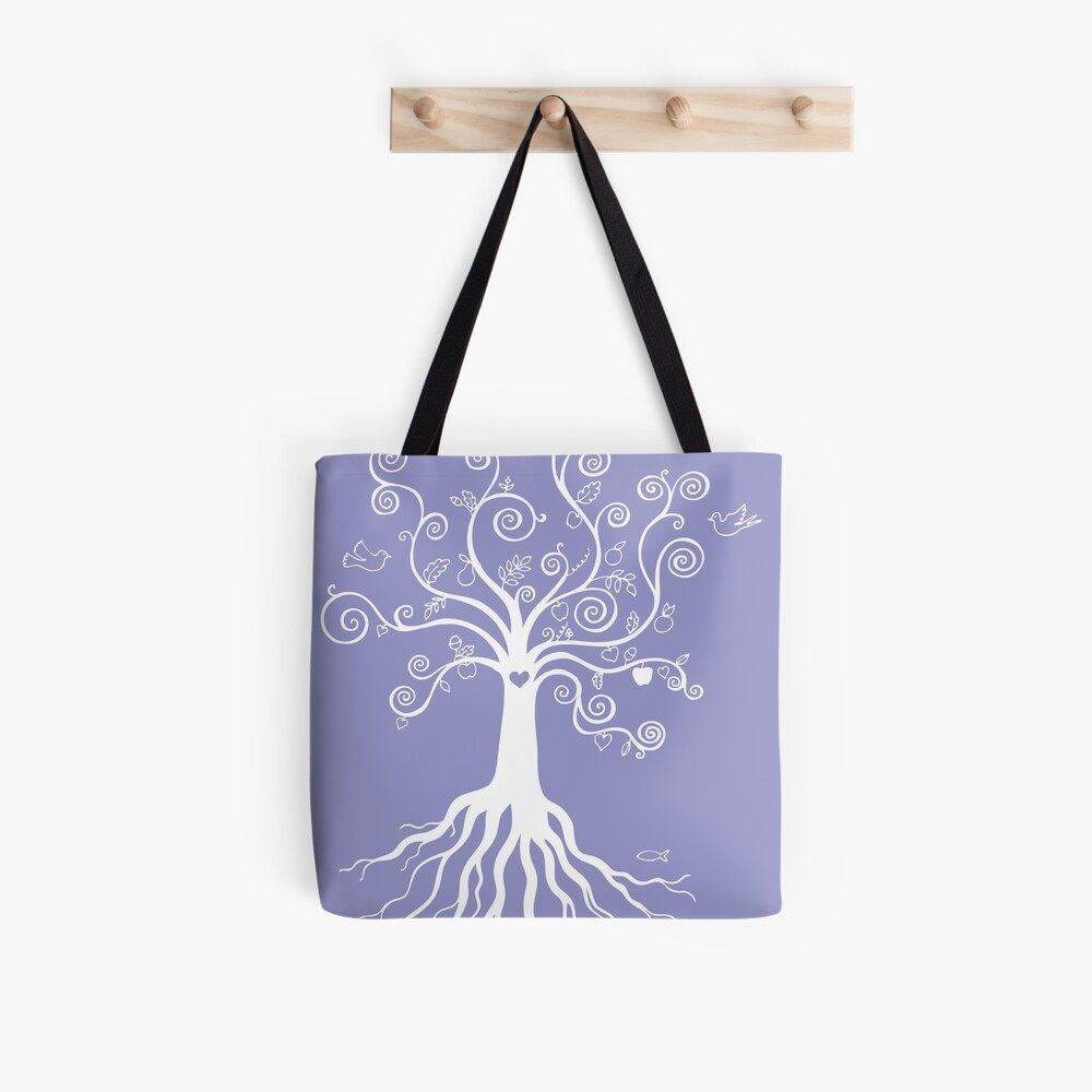Tree of Life - white on pale blue by Cecca Designs Tote Bag