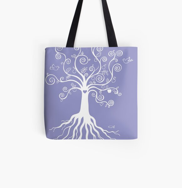 Tree of Life - white on pale blue by Cecca Designs All Over Print Tote Bag