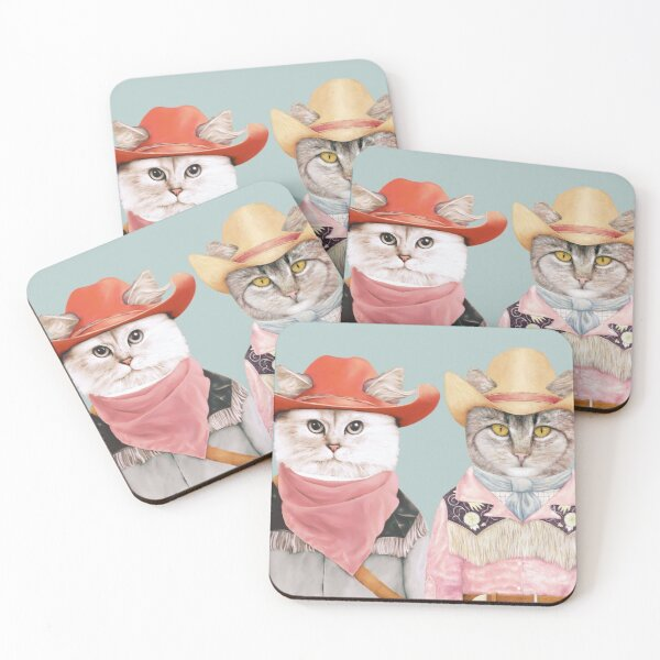 Cowboy Cats Coasters (Set of 4)