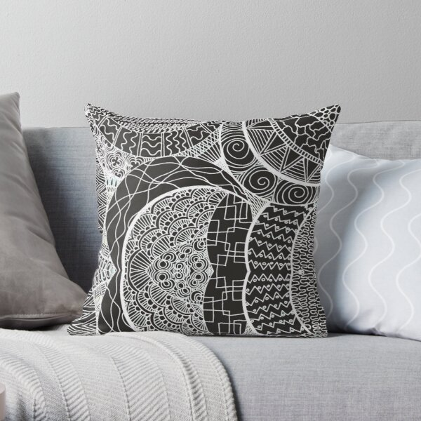 Mamma Africa | Geometric Tribal Pattern White Outline Throw Pillow