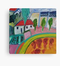 Back Yard with Lattice and Vege Patch Canvas Print
