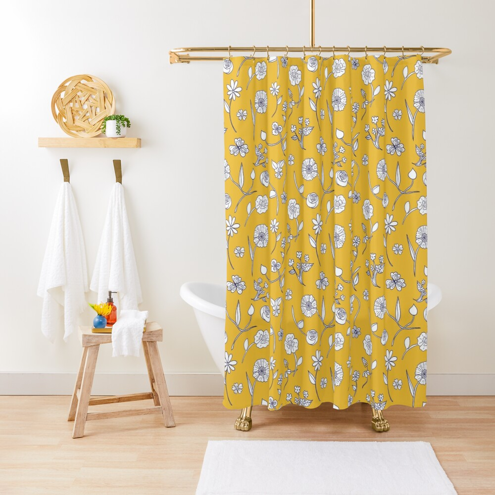 Botanical sketch sunny gold by Tea with Xanthe Shower Curtain