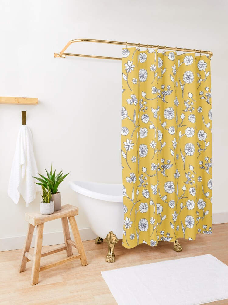 Alternate view of Botanical sketch sunny gold by Tea with Xanthe Shower Curtain