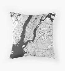 New York Map Gray Throw Pillow