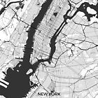 New York Map Gray by HubertRoguski