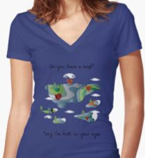 do you have a map? Women's Fitted V-Neck T-Shirt
