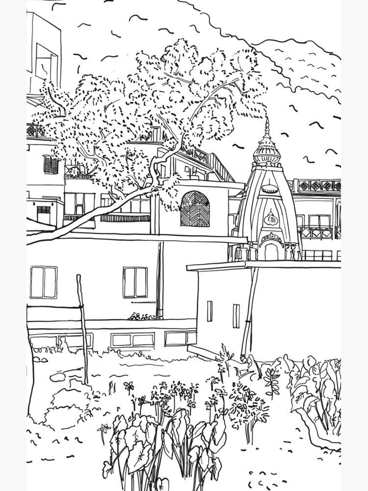 Rishikesh backyard BW sketch by NaliniLe