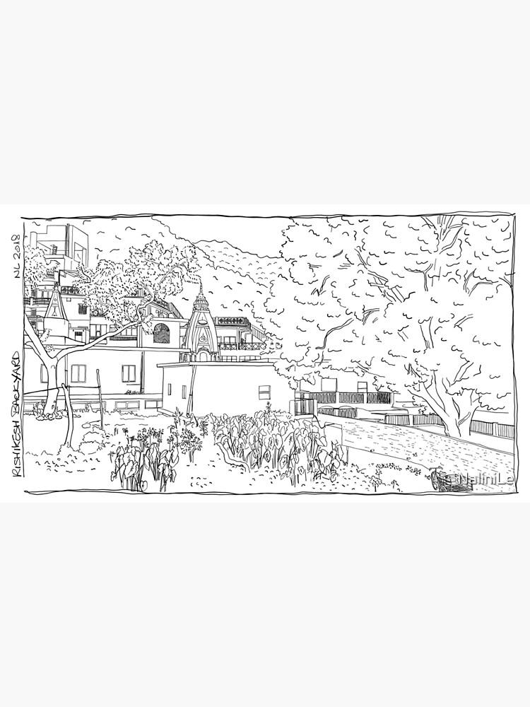 Rishikesh backyard BW sketch by NaliniLe