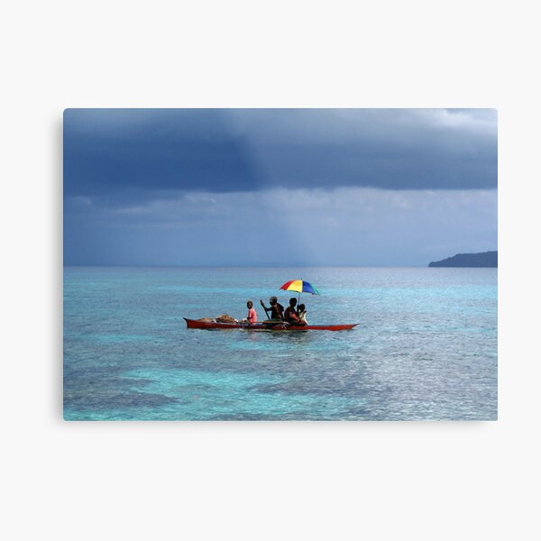 Melanesian Family with umbrella Metal Print