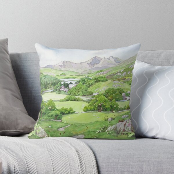 Snowdon from Capel Curig, North Wales Throw Pillow
