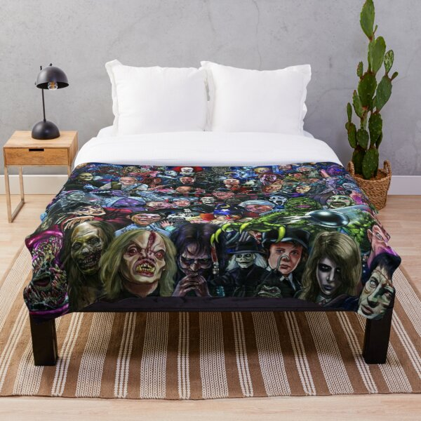 Horror Collage Throw Blanket