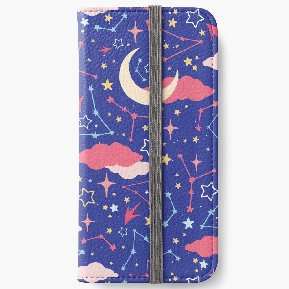 Constellation Stars and Moons in Neon Pastels iPhone Wallet