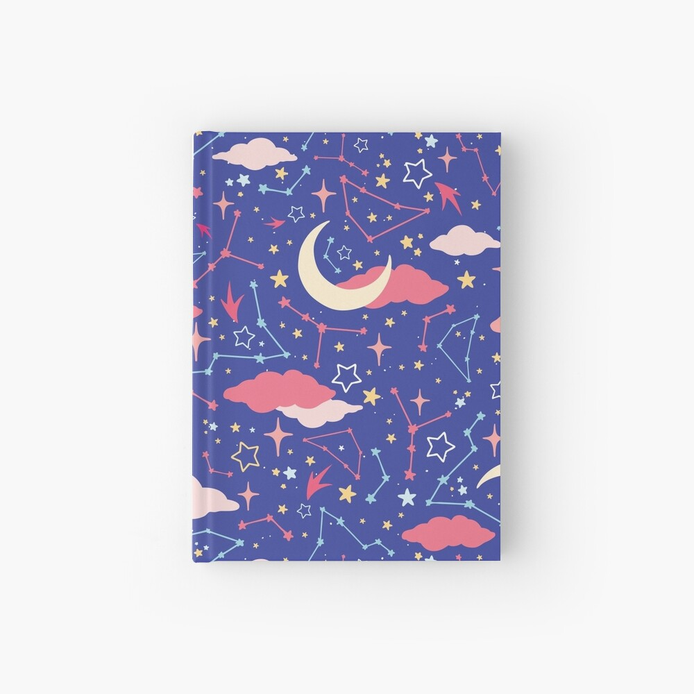 Constellation Stars and Moons in Neon Pastels Hardcover Journal