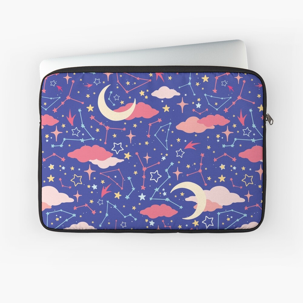 Constellation Stars and Moons in Neon Pastels Laptop Sleeve