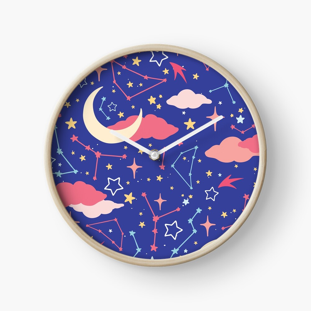 Constellation Stars and Moons in Neon Pastels Clock