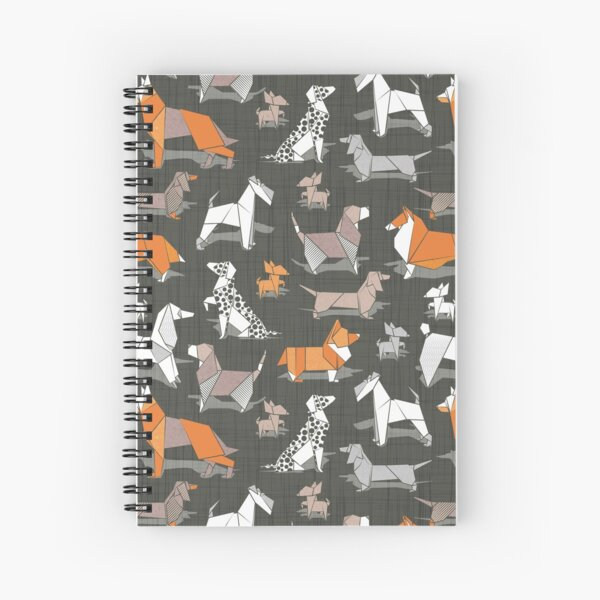 Origami doggie friends // small scale // brown linen texture background paper Chihuahuas Dachshunds Corgis Beagles German Shepherds Collies Poodles Terriers Dalmatians Spiral Notebook