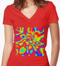 Abstract random colors #1 Fitted V-Neck T-Shirt
