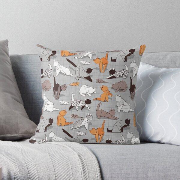 Origami kitten friends // grey linen texture background paper cats Throw Pillow