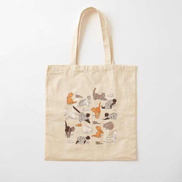 Origami kitten friends // grey linen texture background paper cats Cotton Tote Bag