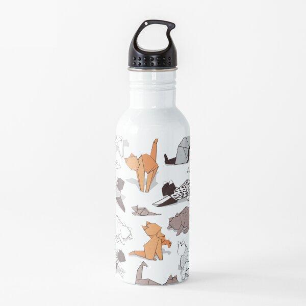 Origami kitten friends // white background paper cats Water Bottle