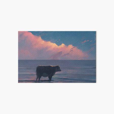 A Cow At The Sea Art Board Print