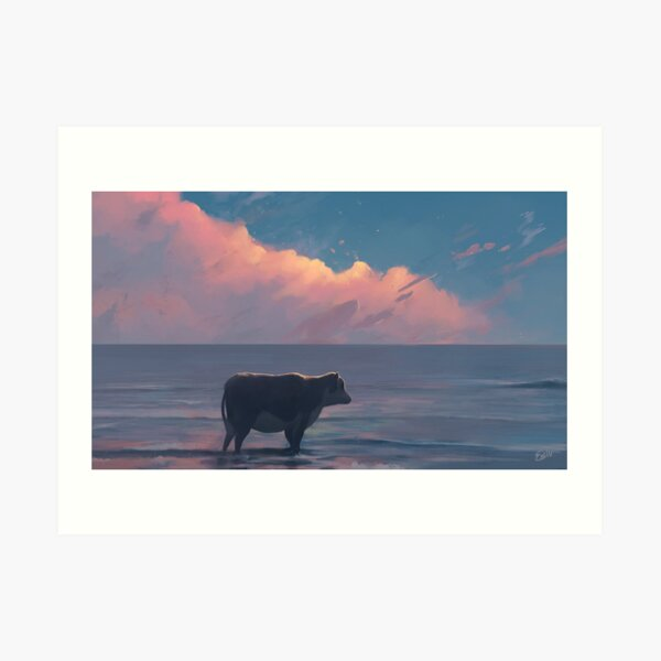 A Cow At The Sea Art Print