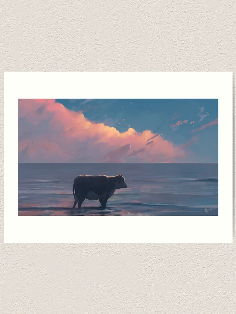 Alternate view of A Cow At The Sea Art Print