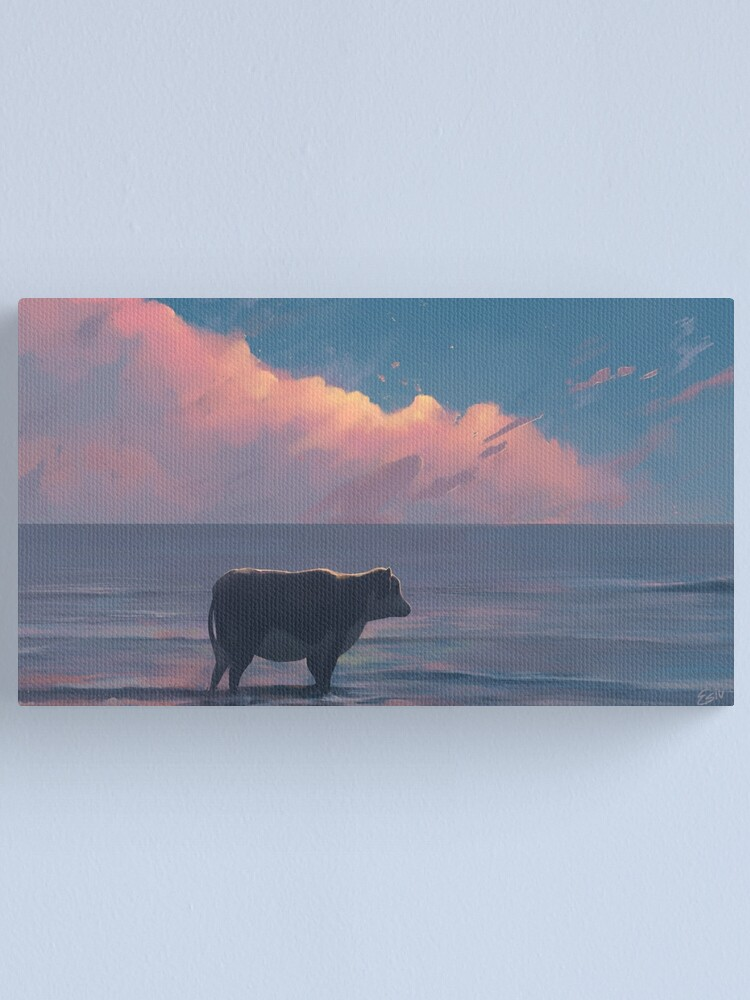 Alternate view of A Cow At The Sea Canvas Print