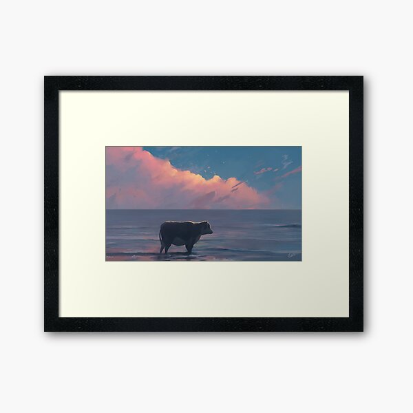 A Cow At The Sea Framed Art Print
