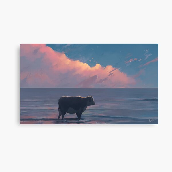 A Cow At The Sea Canvas Print