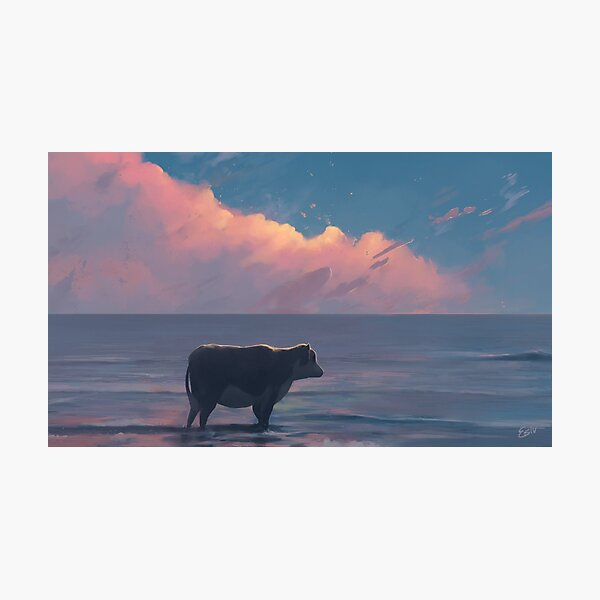 A Cow At The Sea Photographic Print