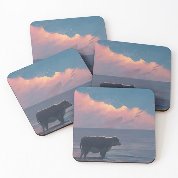 A Cow At The Sea Coasters (Set of 4)