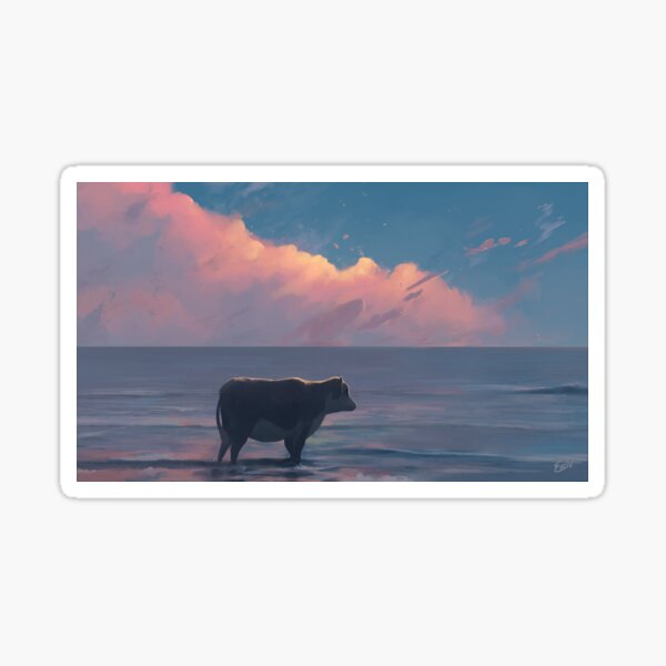 A Cow At The Sea Sticker