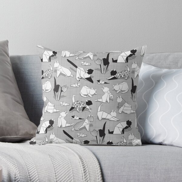 Origami kitten friends // grey linen texture background coloring paper cats Throw Pillow