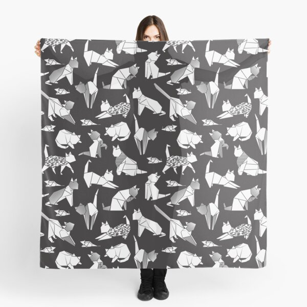 Origami kitten friends // black background white coloring paper cats Scarf